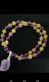 出售紫水晶原礦雙層設計手鍊