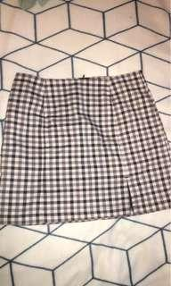 checkered split skirt