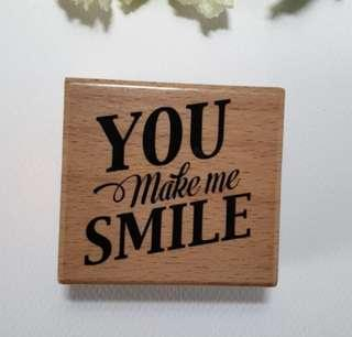 🚚 Woodblock You Make Me Smile Rubber Stamp