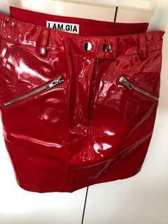 I AM GIA RED LEATHER JAGGER SKIRT
