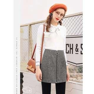 Wool Skirt in Grey with Zip
