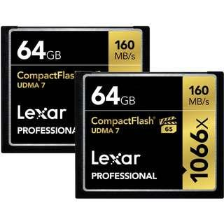 Lexar Professional 1066x 64GB VPG-65 CompactFlash card (Up to 160MB/s Read)
