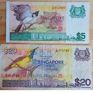 Legal Note $20 & $5 Bird Series Lucky collection