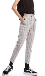 Cereal 高腰格紋直筒褲(附腰帶)