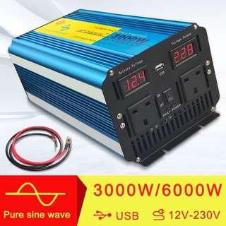 🚚 3000W/6000W (Peak) Pure Sine Wave Power Inverter Soft Start 12V DC to 230V AC convertor with LCD DISPLAY