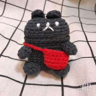🚚 PO AirPods crochet case (black bear with bag)