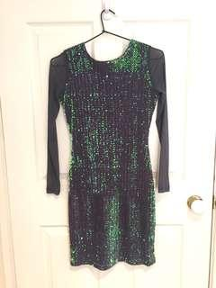 Sequin Sheer Long Sleeve Mini Dress