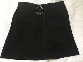 Black Skirt with Ring Front Zip