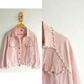 Pink Denim JACKET Pearls