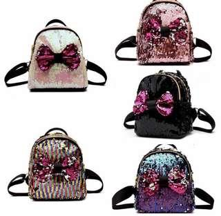 Bow Sequins Backpack