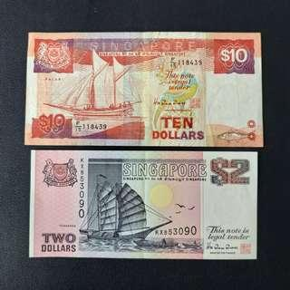 Lot Sale: Singapore 3rd Series 10 & 2 Dollar Notes