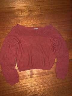off the shoulder knit jumper