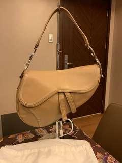 Authentic Christian Dior Beige Leather Saddle Bag