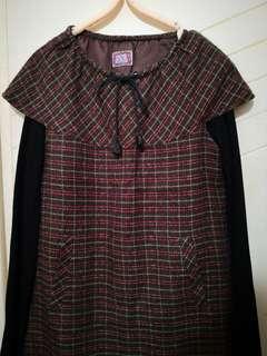 🚚 Vintage🆕毛料格紋洋裝