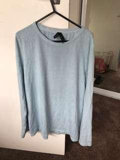 Baby blue huffer long sleeve top