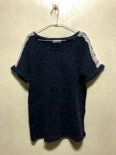 🚚 藍色反摺袖毛衣