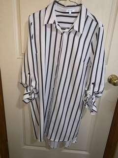 Mid length striped button down shirt dress