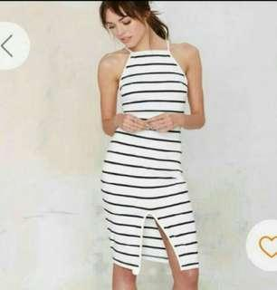 Striped Halter Dress M