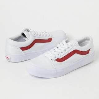 🚚 (買鞋送NIKE襪襪)日線 VANS OLD SKOOL DX WHITE/RED 白底 紅線 復刻 白色 中性情侶款