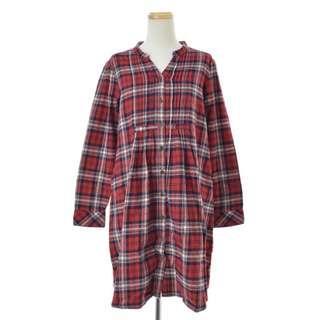 🚚 【chocol raffine robe】紅色系法蘭絨格紋自然風寬鬆立領長版長袖襯衫