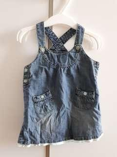 denim overalls skirt 6 to 9 mths