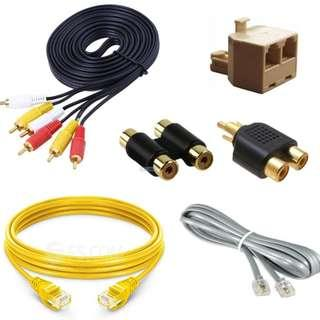 $2 to $4 each LAN cable + RCA + telephone + RCA / telephone splitter