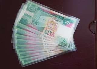 🚚 Singapore $5 Ship Series Banknotes UNC A1 -10 pcs