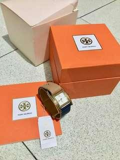 Preloved Tory Burch Thayer Leather Strap Beige-Navy Watch Authentic