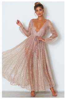 Lucky Star Glitter Gown Rose Gold