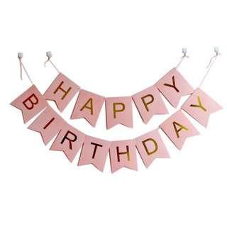 NEW Baby Pink Happy Birthday Banner & Pink Candles