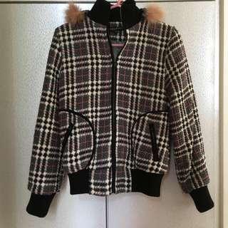 針織格子外套
