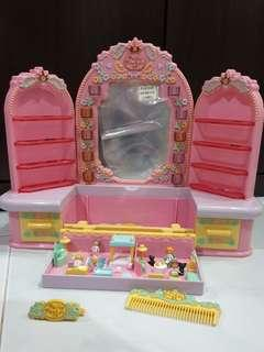 Vintage Polly Pocket 1990 Pyjama Party Dressing Table Play Set ( with Accessories)