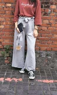 🚚 灰色棉質寬褲 付綁帶