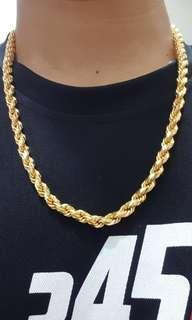 916 gold soild rope necklace 181.4gram, 60cm, 7mm