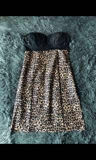 Krazy leopard dress with lace pad (new)