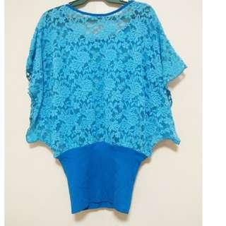 Coral Blue Lace See-through Top