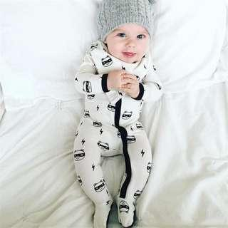 🚚 ✔️STOCK - NINJA PANDA LIGHTNING DRAWING NEWBORN TODDLER BABY BOYS/GIRLS UNISEX PJ LONG SLEEVES ZIP ROMPER KIDS CHILDREN CLOTHING