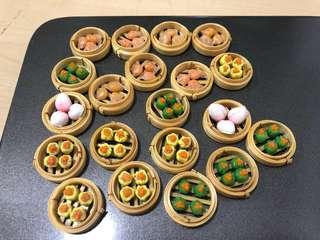 Handmade Miniature Dimsum set on bamboo tray (clay)