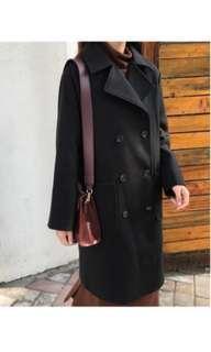 出清 歐美風下擺開叉雙排扣毛料長版外套/黑