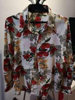 Flower top button shirt