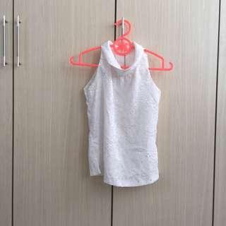 90s White Sleeveless Collar Blouse
