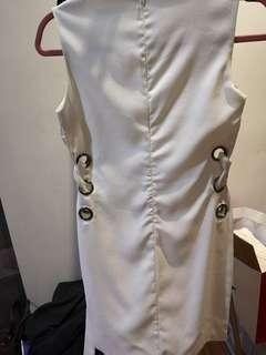 White long top with belts on side