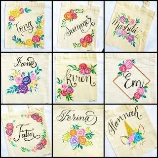 Handpainted Customisable Floral Tote Bags as Gifts