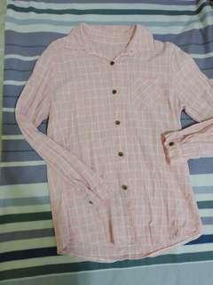 🚚 227免運🛒粉色格子襯衫