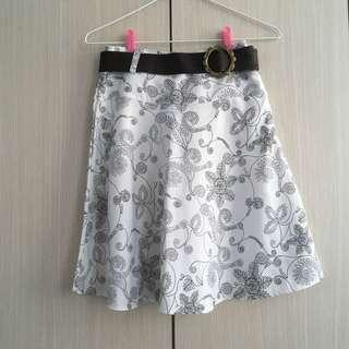 Cowgirl Brown Belt White Skirt