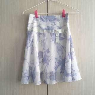 White Skirt with Light Purple Pattern