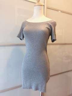 Off shoulder grey Knitted Dress