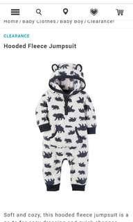 🚚 Carter's hooded fleece jumpsuit
