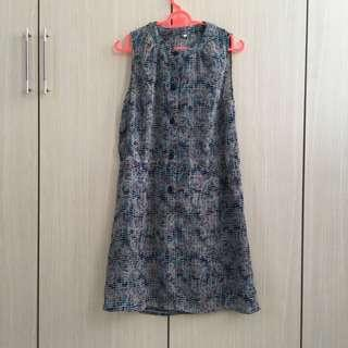 Psychedelic Sleeveless Button Dress