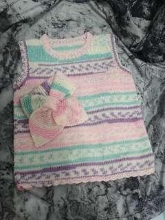 手織粉色BB冷背心連頸巾套裝